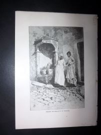 Paton & Burns 1890 Antique Print. Street Fountain in St Pierre, Martinique